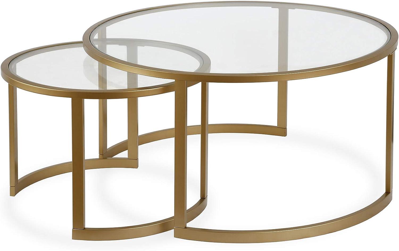 Amazon Com Nested Round Glass Coffee Table Brass Finish Furniture Decor