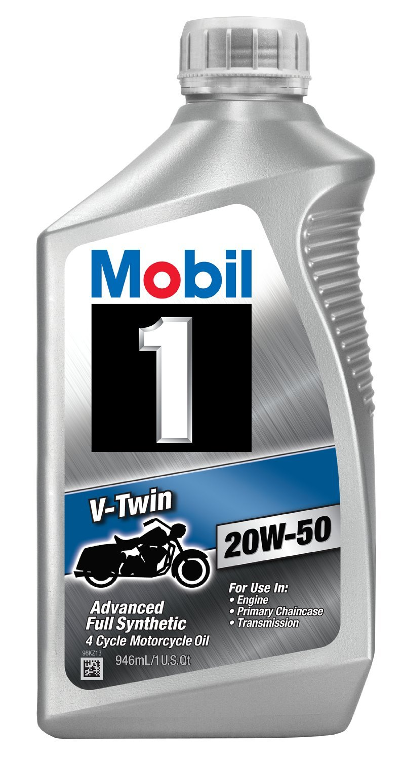 Mobil 1 96936 20W-50 V-Twin Synthetic Motocycle Motor Oil - 1 Quart (Pack of 6) by Mobil 1