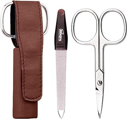 Set manicura de 2 piezas - Kit manicura compacto y de calidad, ideal para viaje, mini estuches con tijeras y limas para uñas, color: marrón: Amazon.es: Belleza