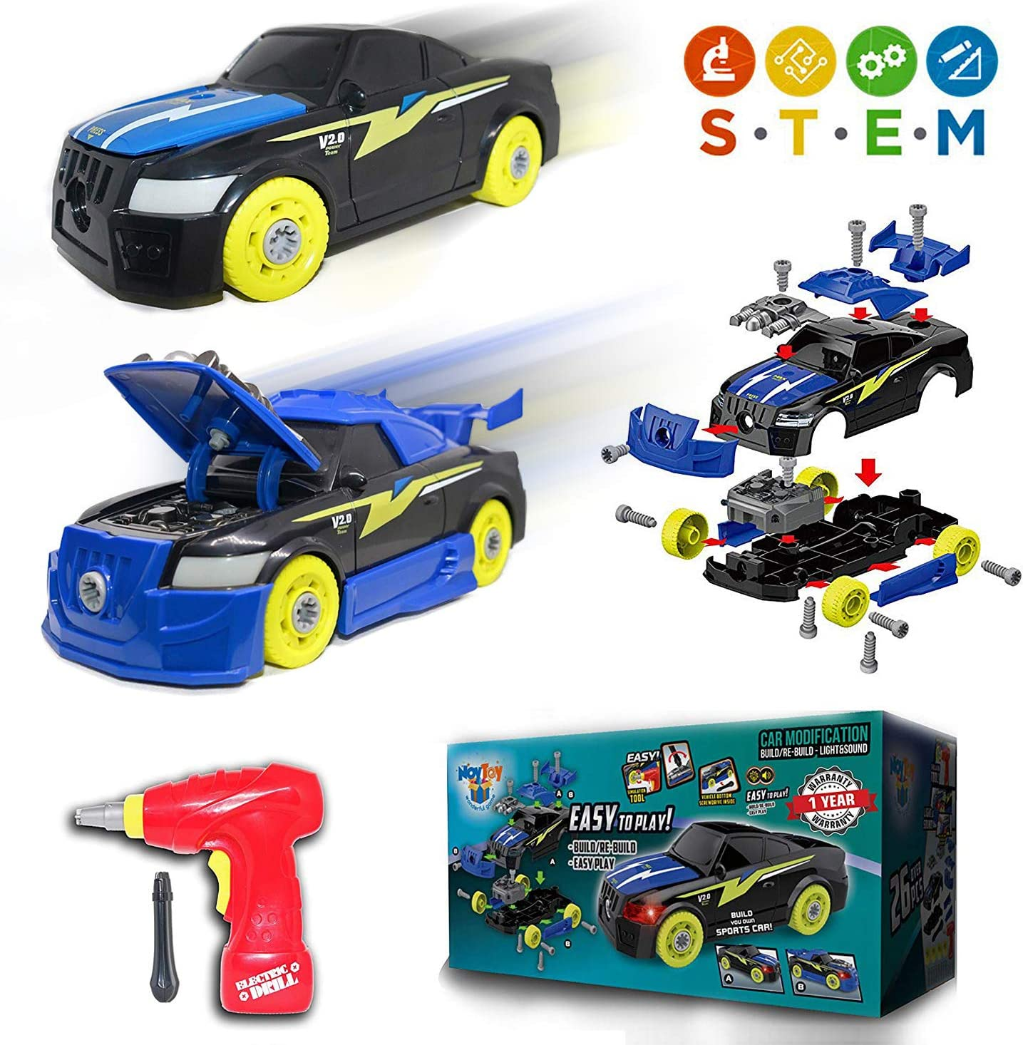 NOYTOY Take Apart Toys for Boys - 5 Year Old Boy Toys with Electrical Drill Tool ( 2 in 1 ) Assembly Car Toys - 26 Pcs , Gift Sets for Kids - Age 3 4 5 6 7 Year Old Boys