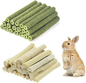 Changeary 150g and 300g Small Animals Chew Toys Molar Sticks, Apple Sticks Sweet Bamboo Combined for Rabbit Chinchilla Guinea Pigs Squirrel Hamster …
