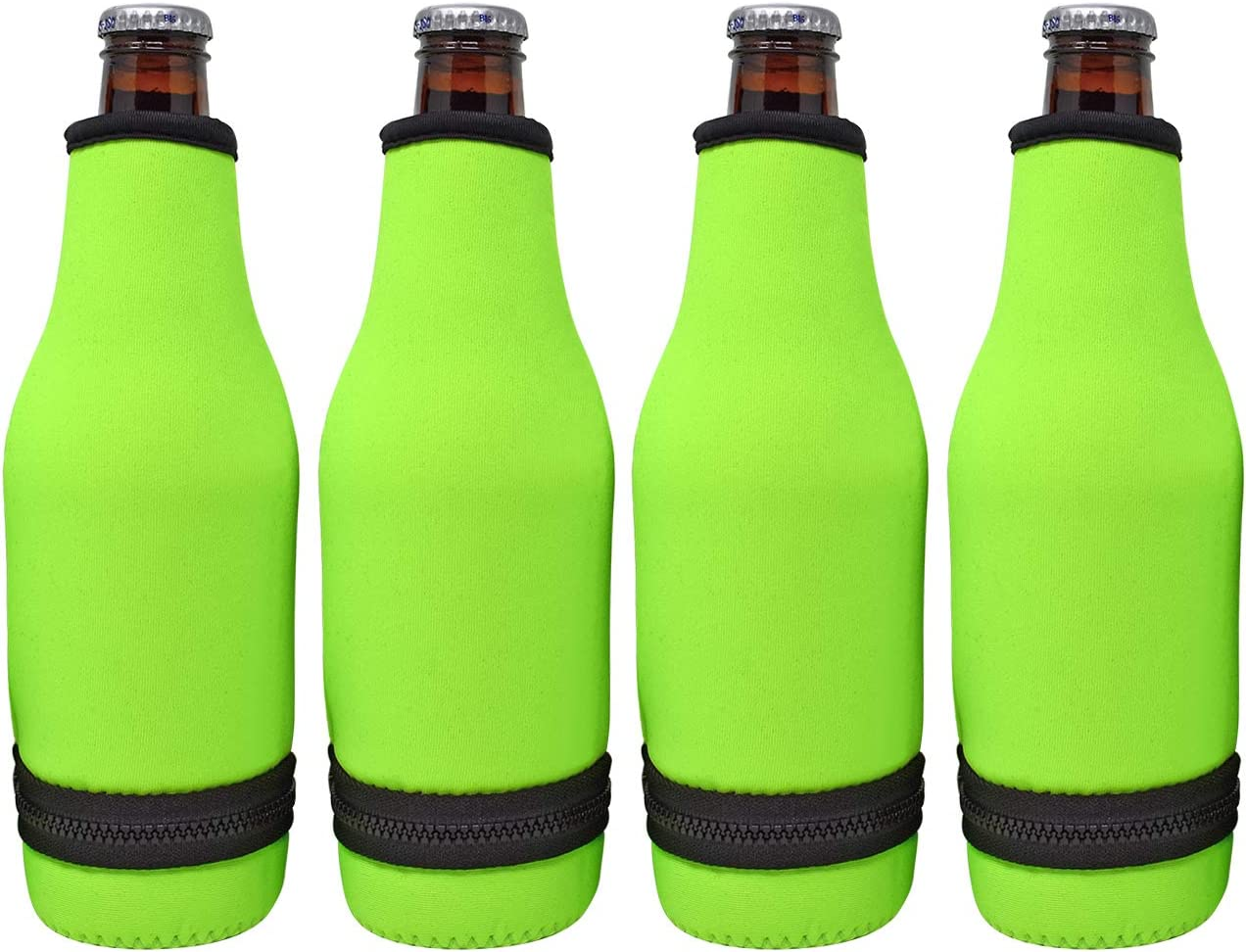 TahoeBay 4 Beer Bottle Sleeves - Easy-On Bottom Zipper - Extra Thick Neoprene Blank Drink Cooler (Lime Green, 4)