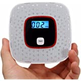 Carbon Monoxide Detector Alarm with Voice Warning Battery Operated, CO Alarm Sensor with Digital Display (White)