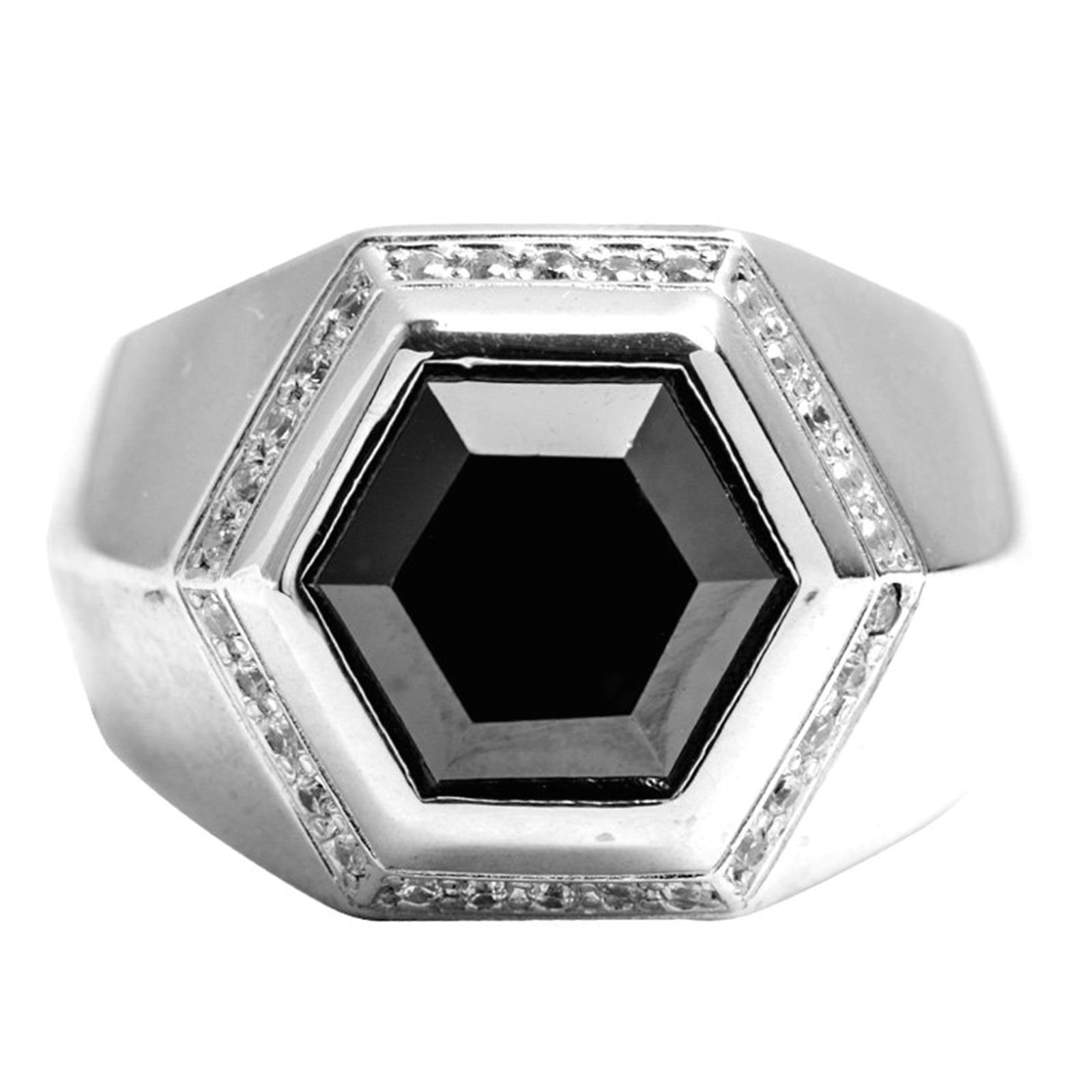Epinki 925 Sterling Silver Punk Rock Vintage Gothic Black Cubic Zirconia Hexagon Ring for Men Size 7 by Epinki