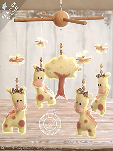 Amazon giraffe baby mobile hanging yellow pink nursery giraffe baby mobile hanging yellow pink nursery decor personalized baby shower gift negle Images