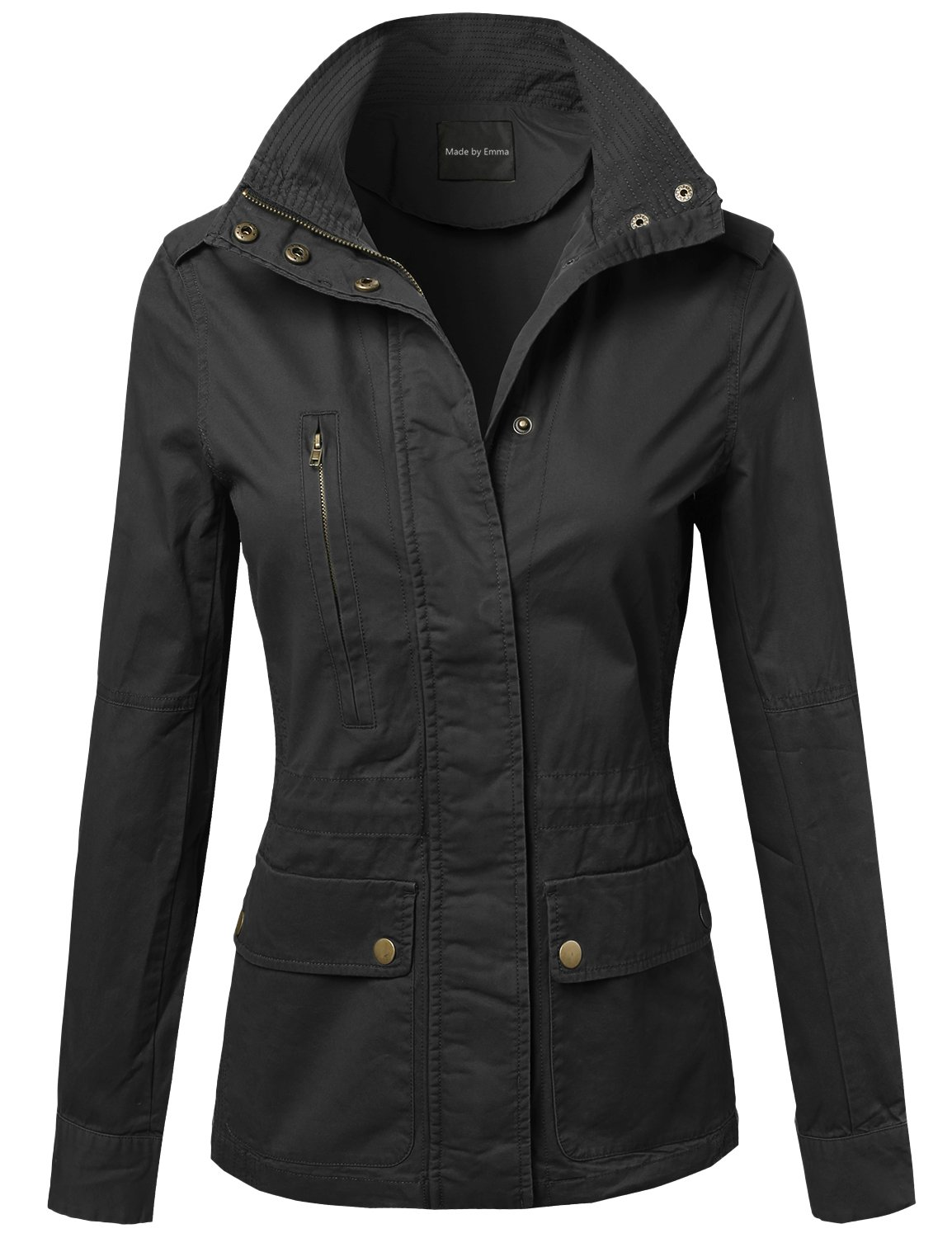 Made by Emma Military Style Zipper Snap Button Closure Jacket Black L by Made by Emma (Image #1)