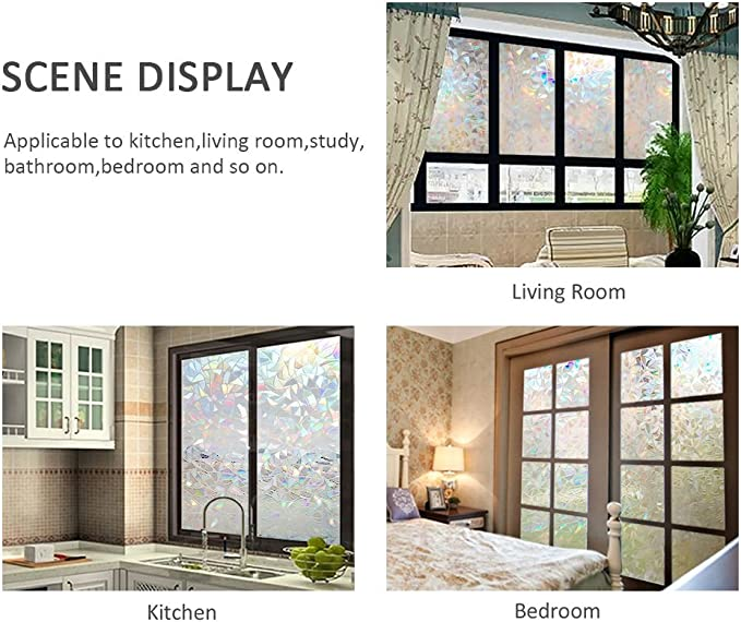 Película para ventana esmerilada Sin adhesivo adhesivo estático ...