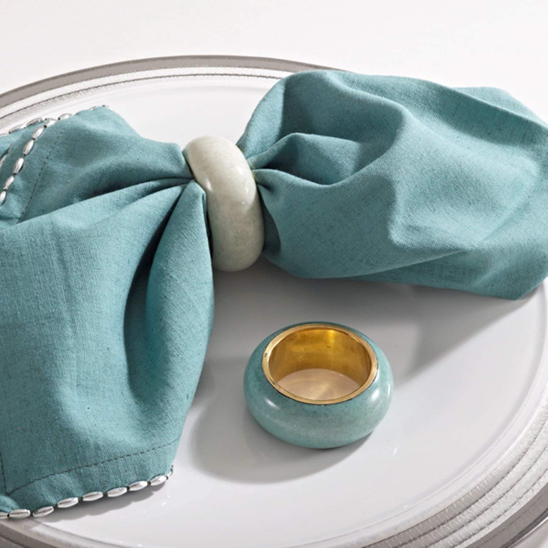 SARO LIFESTYLE 4-Piece Dome Design Napkin Ring Set, Oyster  オイスター B00NPZZB38