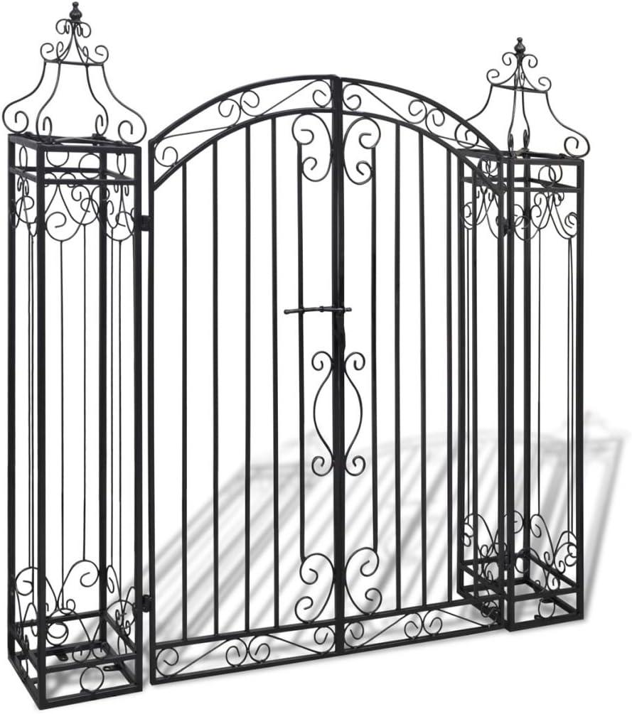 Tidyard- Puerta de jardín Decorativa de Hierro Forjado 122x20,5x134 cm