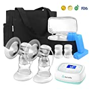 Electric Breast Pump with Tote, BelleMa S3 Pro Real Hospital Grade Double Breast Pump 2-motor, L/R Pumps Separate Control, 9 Suction Levels, Li-battery Memory Silent Breast Pump for Office/Home/Travel