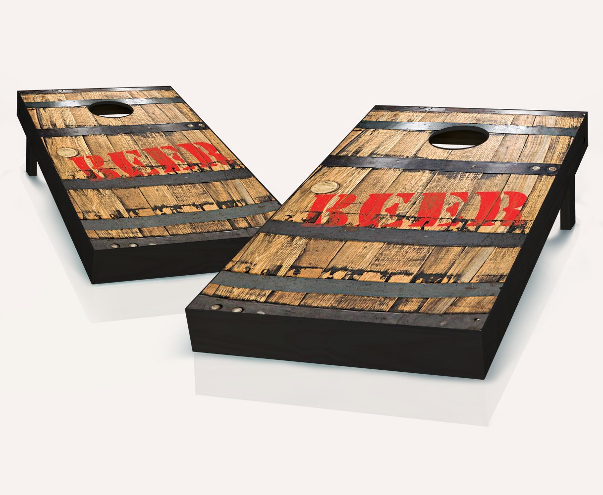 Tailgating Pros Beer Barrel Cornhole Boards withのセット8 Cornhole Bags B07BWSLTNJ
