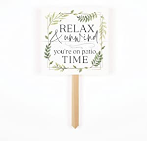 censhaorme Relax and Unwind Classic White 7 x 7 Pine Wood Garden Yard Sign with Stake