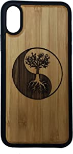 Tree of Life Case for iPhone XS & iPhone X by iMakeTheCase | Eco-Friendly Bamboo Wood Cover + TPU Wrapped Edges | Yin Yang Symbol Spirituality Zen Underworld Cosmos Knowledge.