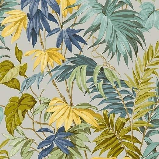 Tropical Jungle Palm Leaf Grandeco Life Liane Tropicale Navy Wallpaper 167402