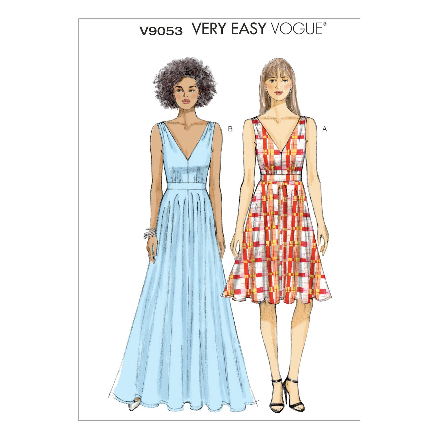 Amazon.com: Vogue Patterns V9053 Misses\' Dress Sewing Template, A5 ...