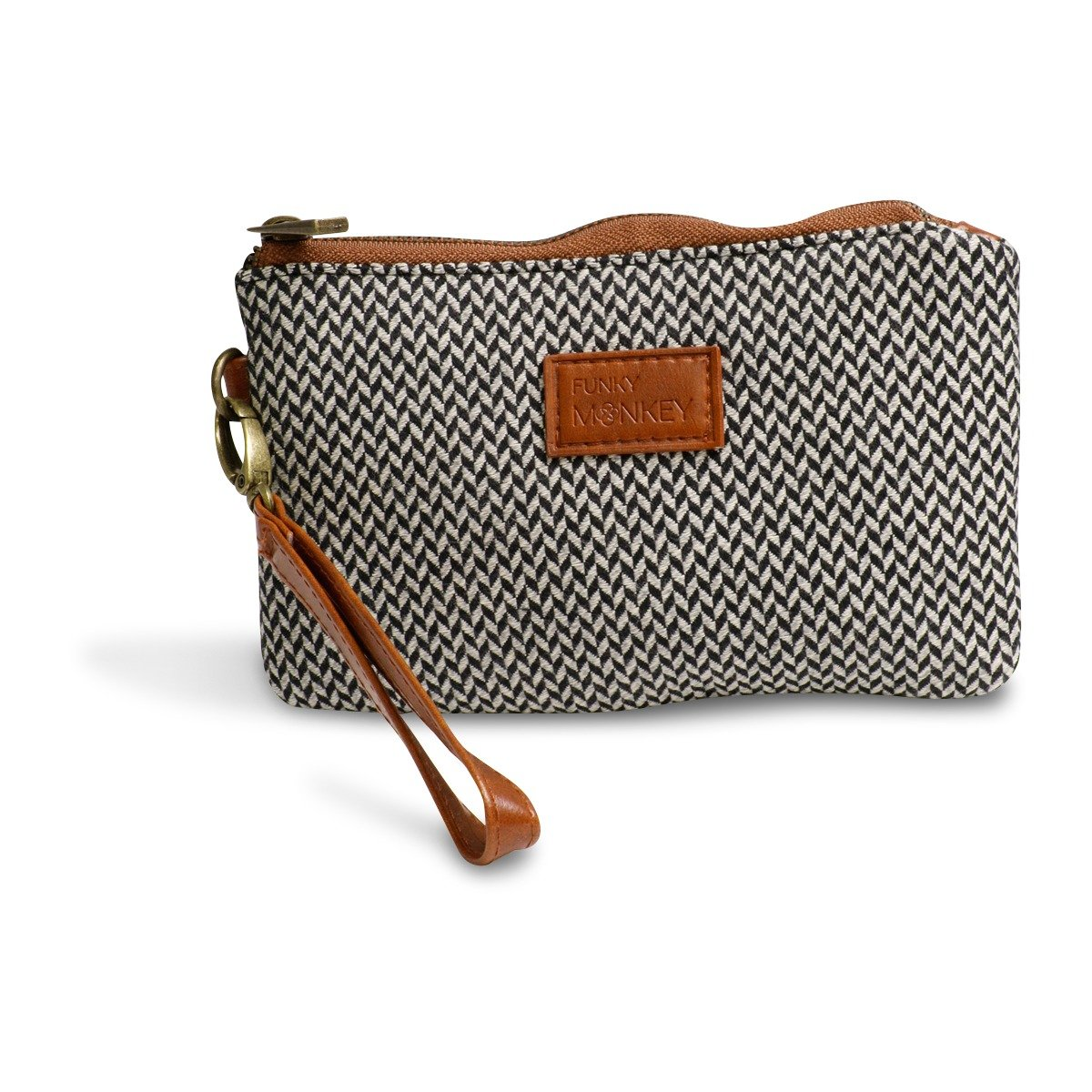 Wristlet Wallet Clutch - Phone Purse Handbag - Small Size - Black & Gray Herringbone Style - Funky Monkey Fashion (Medium)