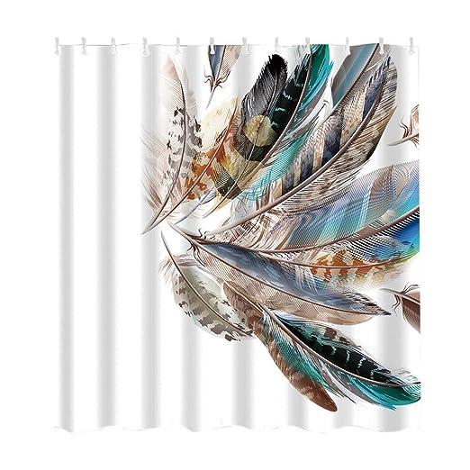 Amazon Clearance House Decor Shower Curtain Feather Asian