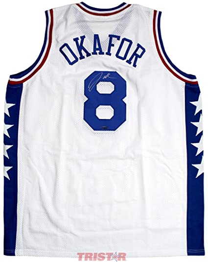 69cbd49d Image Unavailable. Image not available for. Color: Signed Jahlil Okafor  Jersey - White Custom - Autographed NBA Jerseys