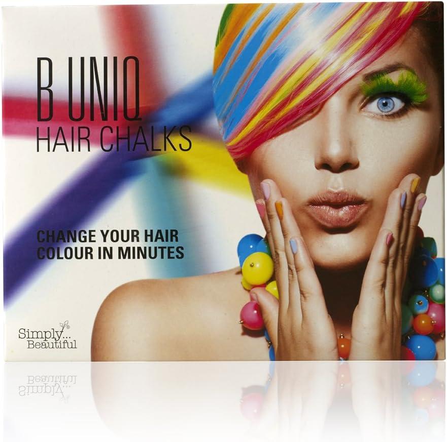 Tizas de colores para el pelo de B Uniq, ideal para Halloween, disfraces de fantasía o para actuaciones, pack de 24 tizas