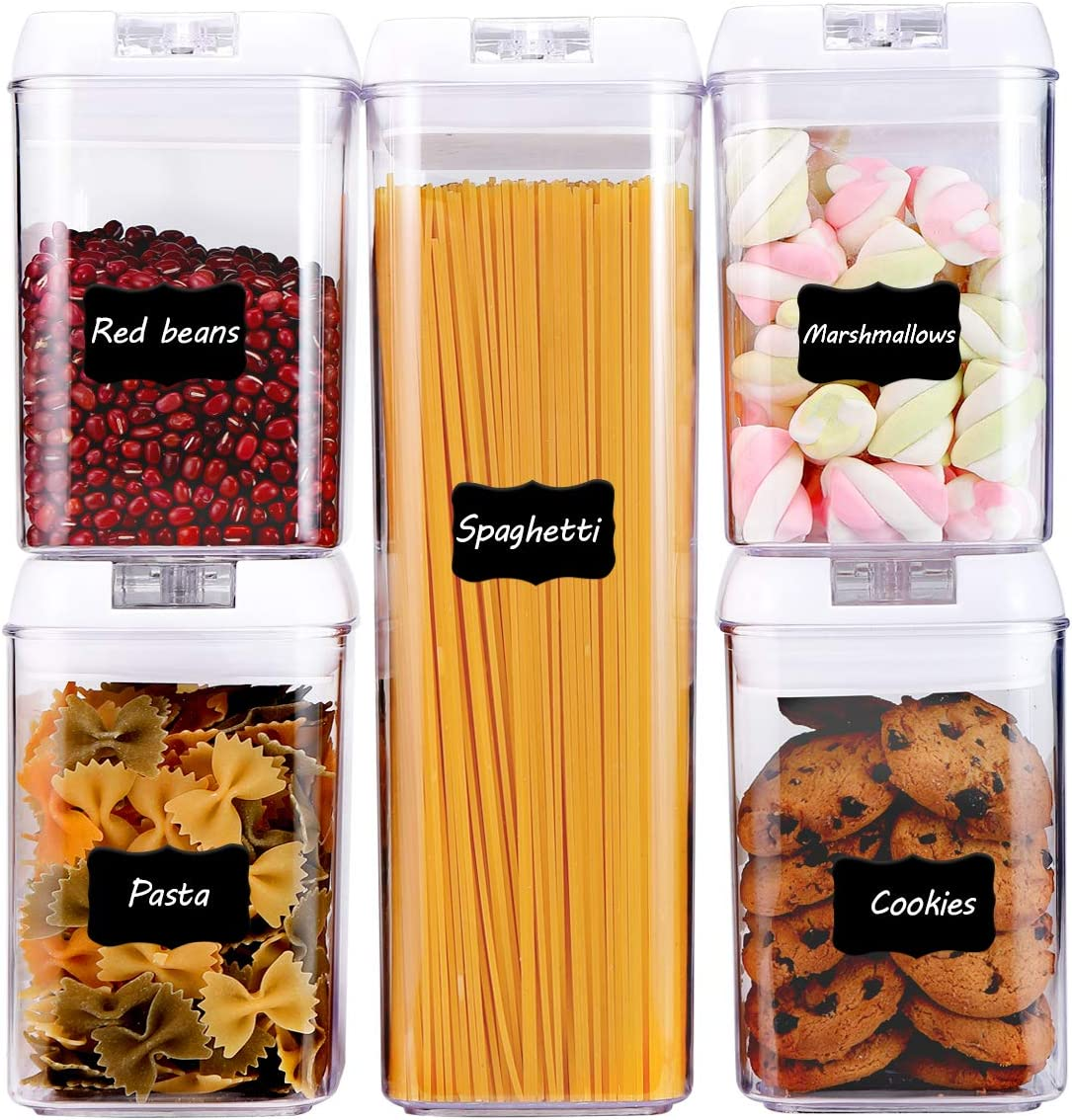 Airtight Food Storage Containers, 5 Pieces Plastic Cereal Container with Easy Lock Lids, BPA Free Cereal Containers for Kitchen Pantry Organization and Storage, Include 8 Labels and Marker