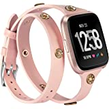 Glebo Leather Bands Compatible with Fitbit Versa 2/Versa/Versa Lite Edition Watch,Slim Double Wrap Around Strap Bracelet with