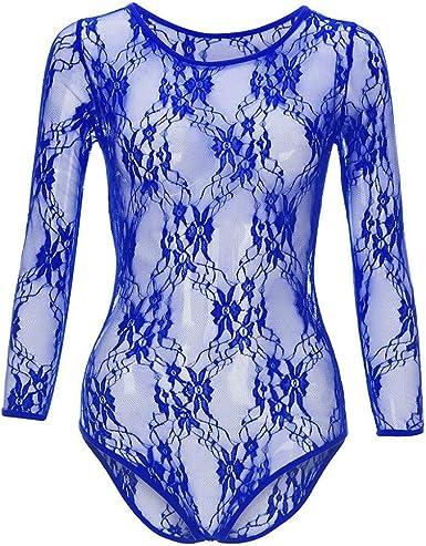 Body para Mujer Top Transparente de Encaje de Flores Sexy Elegante Clubwear Mono Camisa de Manga Larga Moda Bodysuit Corte Ajustado Casual Leotardo: Amazon.es: Ropa y accesorios