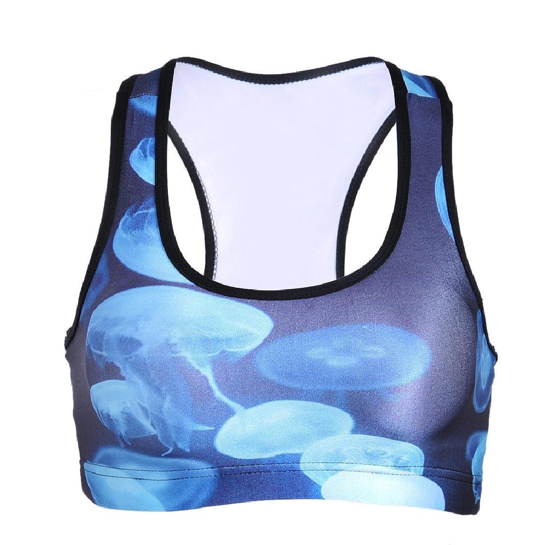 ANDYOU-Women Digital Printed Underwire Yoga Sports Graphic Print Tank Sports Bra Top