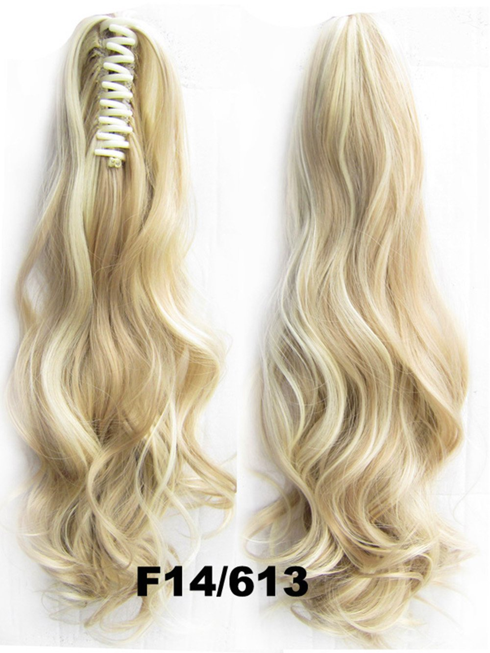 Queen Wig Long wave Clip in/on Wavy Ponytail Hair Extension Hairpiece Claw - #14/613 Medium Blonde/bleach blonde
