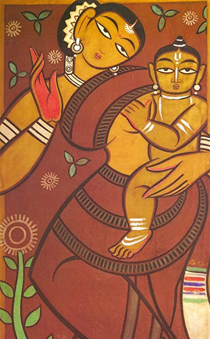 Tallenge Mother And Child By Jamini Roy Small Canvas Unframed