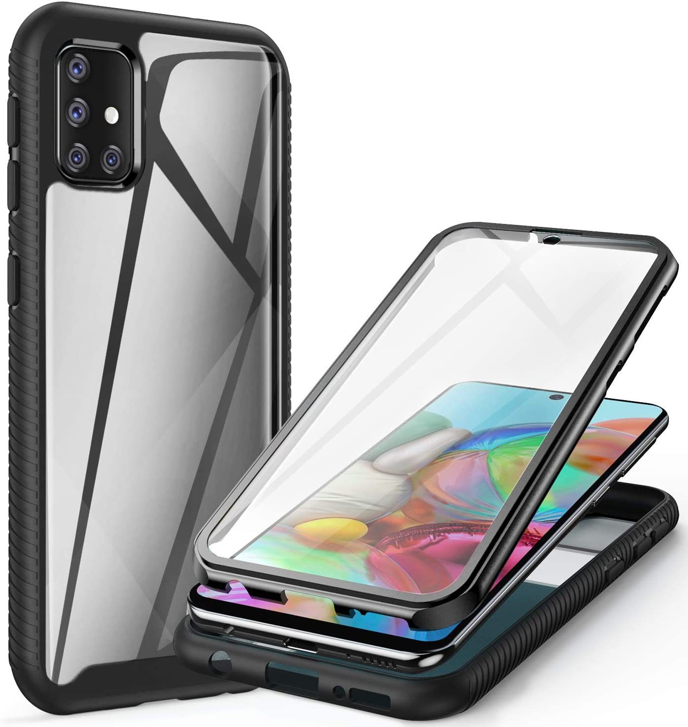 ivencase for Samsung Galaxy A41 Case Clear 360 Degree Full Body Protection Cover with Built-in Screen Protector Front and Back Bumper Shockproof Non Slip Case for Samsung Galaxy A41