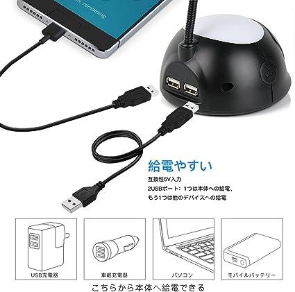 REACHER LED Réveil avec Lampe de Bureau (4 en 1) 7 Couleur Veilleuse Lumière Lampe de Chevet,avec 2 Port Chargeur USB pour Charger Smartphone–Noir