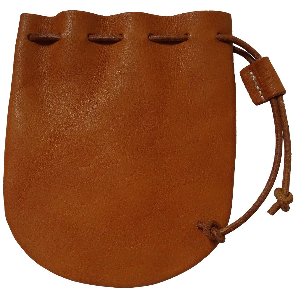 Drawstring Genuine Leather Coin Pouch Wallet Bag