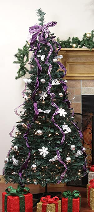 northlight 31105059 pre lit pop up decorated silverpurple artificial christmas tree clear lights - Pre Lit And Decorated Christmas Trees