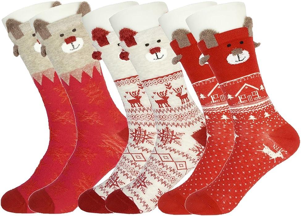 b8b69565e6ee1 3 Pack Women's Christmas Crew Socks Cute Cartoon Holiday Casual Mid-calf  Dress Socks Xmas Gift