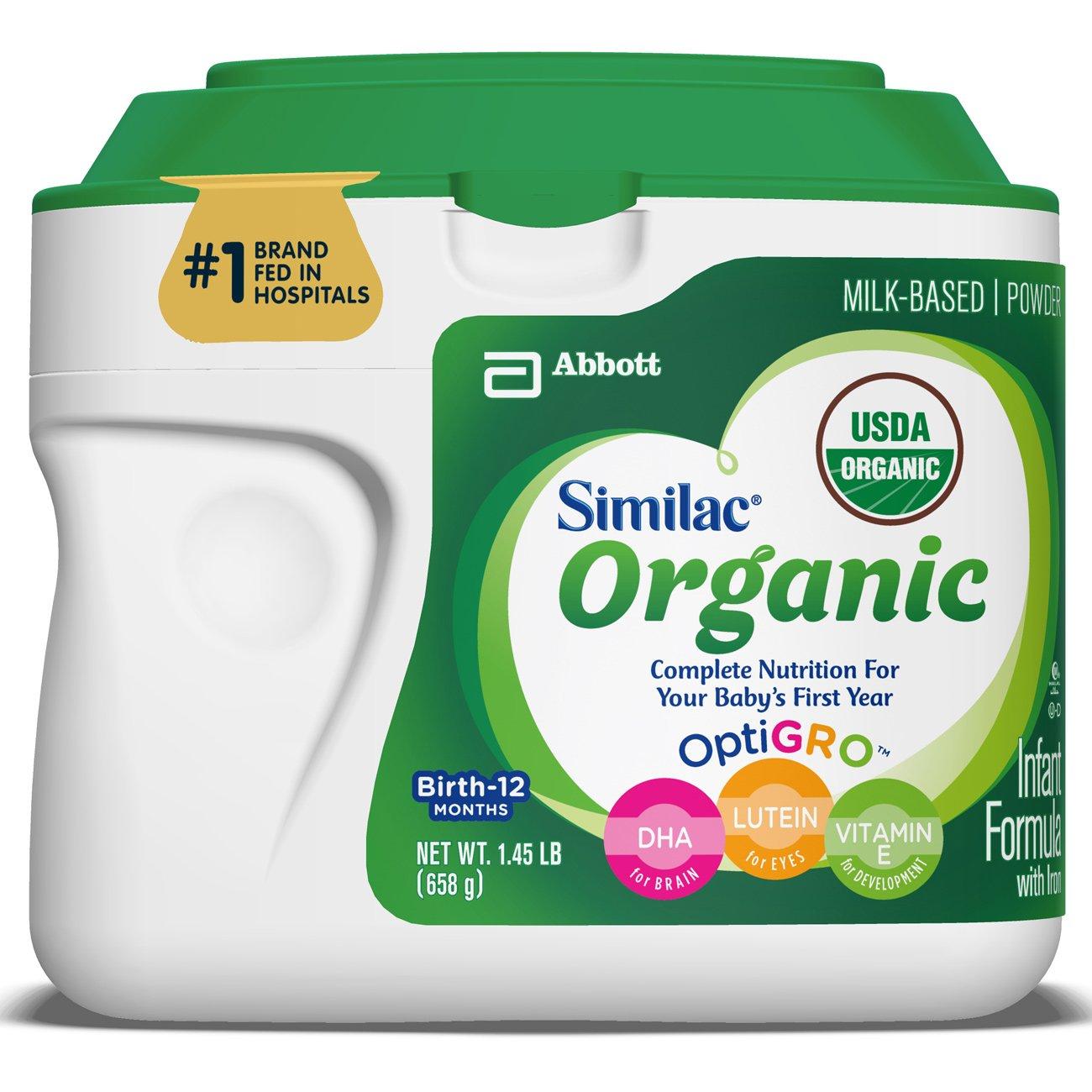 Similac Organic Infant Formula with Iron, USDA Certified Organic, Baby Formula, Powder, 1.45 lb (Pack of 6) by Similac