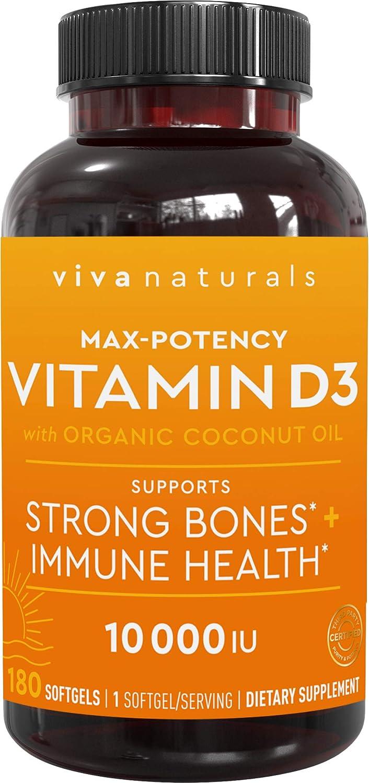 Viva Naturals Vitamin D3 (10,000 IU) - High Potency Vitamin D with Organic Coconut Oil, 180 Softgels