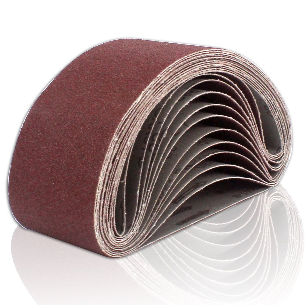 Coceca Sanding Belts 3x21 Inches (75x533mm) Aluminum Oxide Sanding Belt, 80 Grits 12pcs for Belt sander