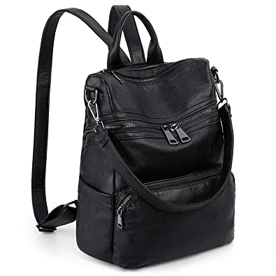 ed6f830074 Amazon.com  LARGE SIZE-UTO Women Backpack Purse PU Washed Leather Ladies  Rucksack Shoulder Bag Ver2 Black  Shoes
