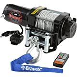 Bravex Electric 12V 3500lb/1591kg Single Line Waterproof Winch for UTV ATV Boat with Both Wireless Handheld Remote and Corded