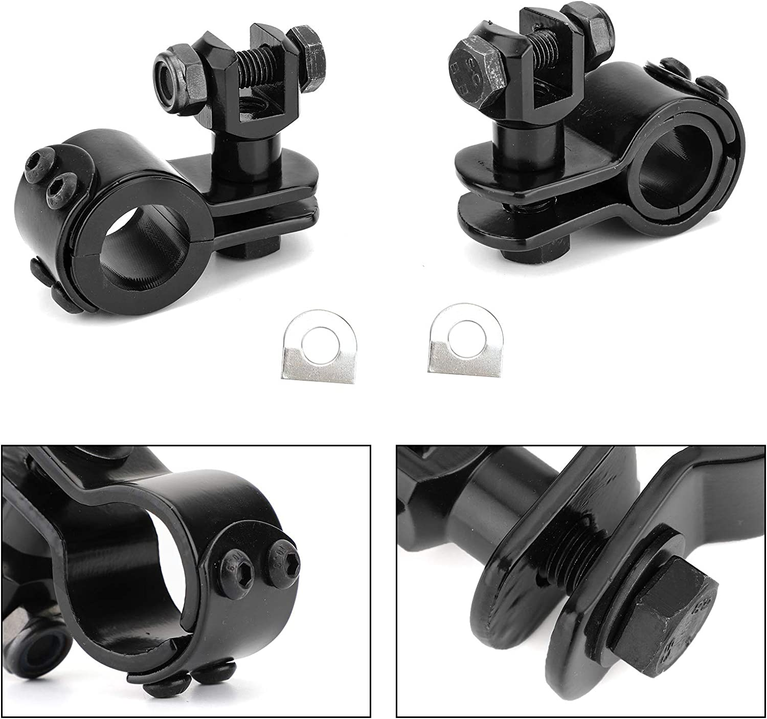 Baoblaze Pair Folding Highway Motorcycle Clamp On Foot Pegs for Harley Universal