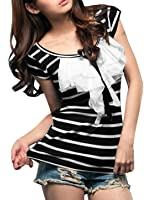 Allegra K Women Ruffle Top Scoop Neck Short Sleeve Tee Horizontal Striped Shirts