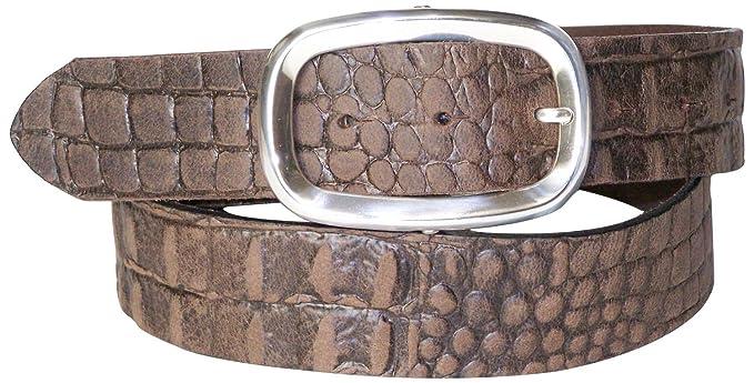 FRONHOFER Women's crocodile leather belt, silver-plated buckle, croc-embossed belt
