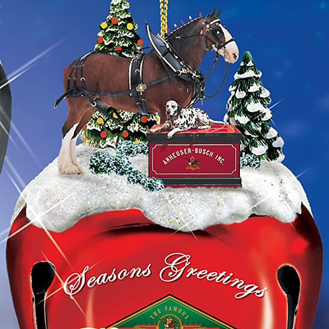 Amazon.com: Budweiser Clydesdales Sleigh Bells Christmas Tree Ornaments:  Set Of Three by Hamilton Authenticated: Home & Kitchen - Amazon.com: Budweiser Clydesdales Sleigh Bells Christmas Tree
