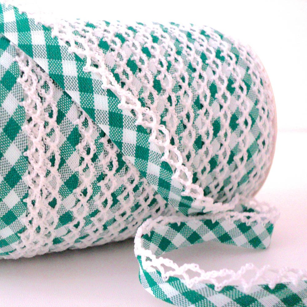 Higgs & Higgs - Picot Lace Edge Gingham Bias Binding - Emerald - Cotton Fabric Trim