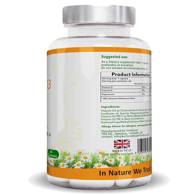 ** ESPECIAL lanzamiento Precio ** vitamina K2 con alta fuerza vitamina D3 5.000 UI Plus magnesio Bis-glicinato - cápsulas vegetarianas - huesos, dientes, ...