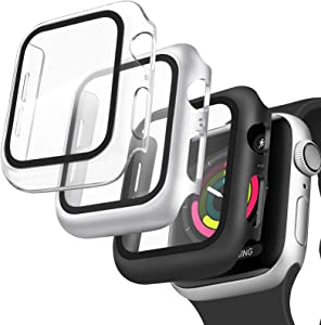 [3 Pack] Oumida 44mm 40mm Case Compatible with Apple Watch Series SE 6 5 4 for Women Men, iWatch Cases 44mm 40mm Hard Cover with Tempered Glass Screen Protector (Clear, Silver, Black, 40mm)