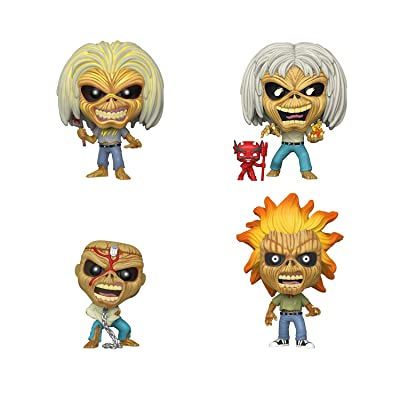 Funko Pop! Rocks Bundle of 4: Iron Maiden - Skeleton Eddie - Killers, Number of The Beast, Piece of Mind and Iron Maiden Skeleton Eddie: Toys & Games