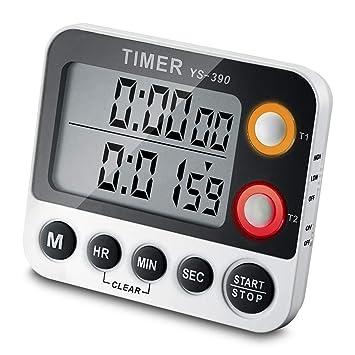 Temporizador digital ceebon 100 hora Dual temporizador de cuenta atrás y contar hasta temporizador de cocina con imán para colgar soporte pantalla LCD ...