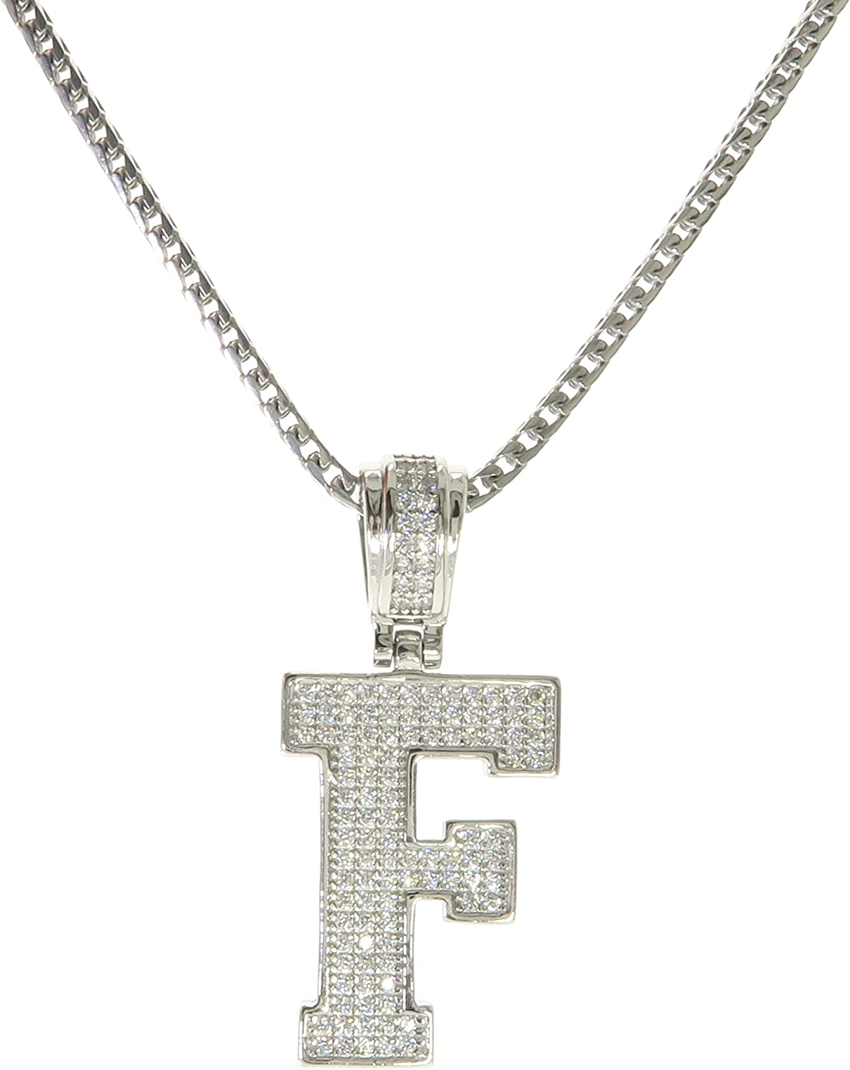 """925 Sterling Silver CZ Letter Initial /""""F/"""" Pendant Necklace F"""