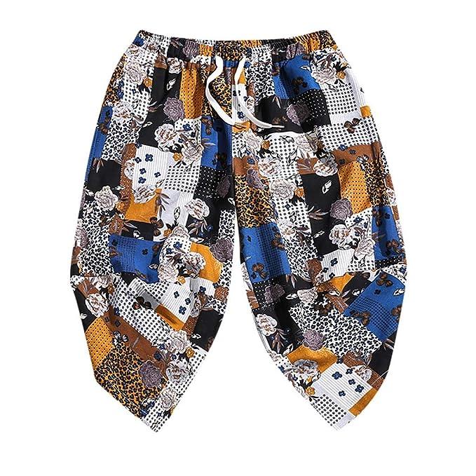 ACEBABY Pantalones Cortos Sueltos de Siete Puntos para Hombres ...